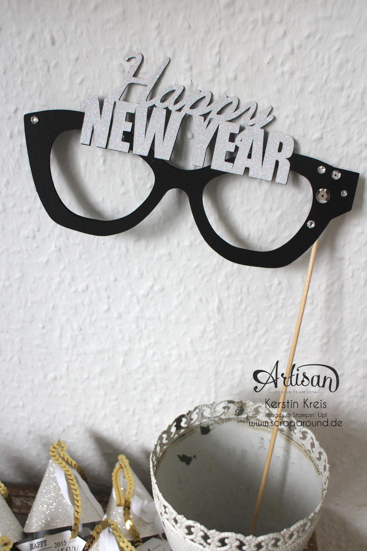 """""""Happy New Year 2015"""" - Stampin´ Up! Artisan DesignTeam BlogHop 01.01.2015 - Silvester-Deko mit viel Gold und Silber und Glitzerpapieren Detailbild4"""