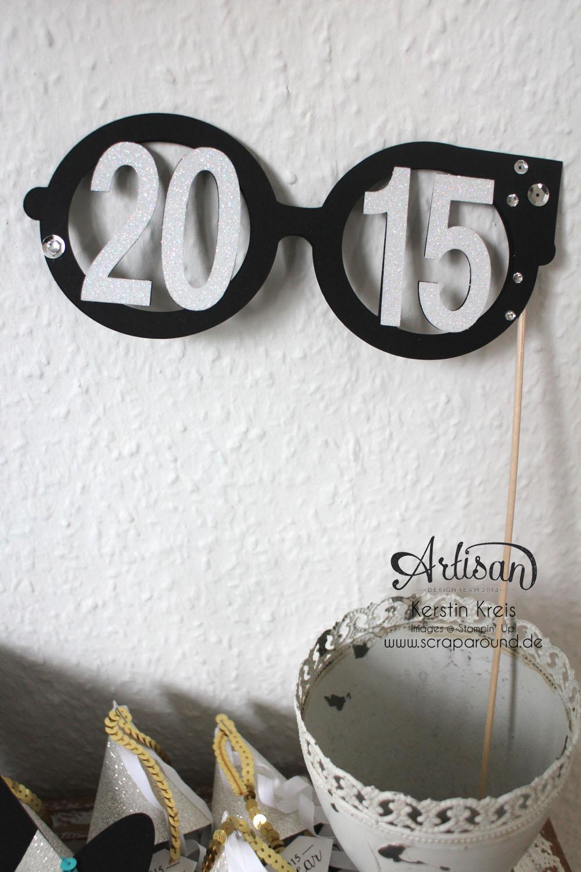 """""""Happy New Year 2015"""" - Stampin´ Up! Artisan DesignTeam BlogHop 01.01.2015 - Silvester-Deko mit viel Gold und Silber und Glitzerpapieren Detailbild3"""