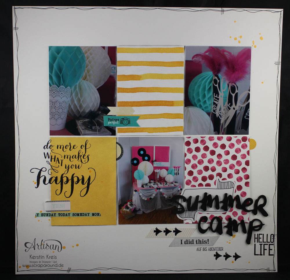 """Scrapbook-Layout"" - Stampin´ Up! Artisan DesignTeam BlogHop 08.01.2015 - Layout ""SUmmerCamp 2013"" mit Designerpapier ""Zarter Frühling"""