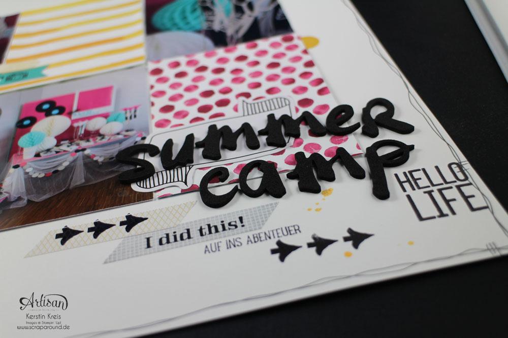 """Scrapbook-Layout"" - Stampin´ Up! Artisan DesignTeam BlogHop 08.01.2015 - Layout ""SUmmerCamp 2013"" mit Designerpapier ""Zarter Frühling""  Detailbild1"