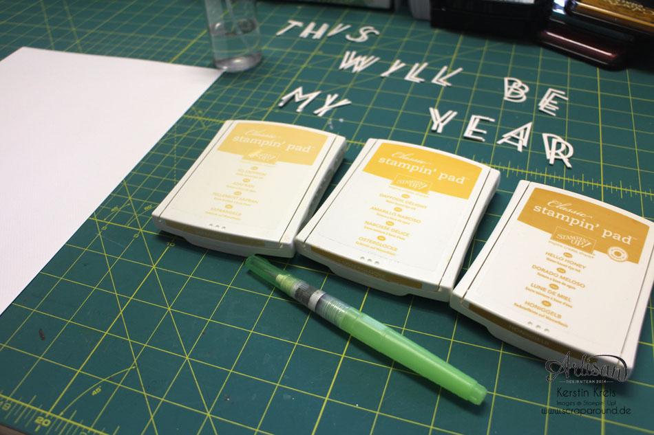 """""""ProjectLife Titelseite 2015"""" - Stampin´ Up! Artisan DesignTeam BlogHop 22.01.2015 - Aquarelltechnik mit Spezialpappe und BigZ Perfekte Buchstaben Detailbild05"""