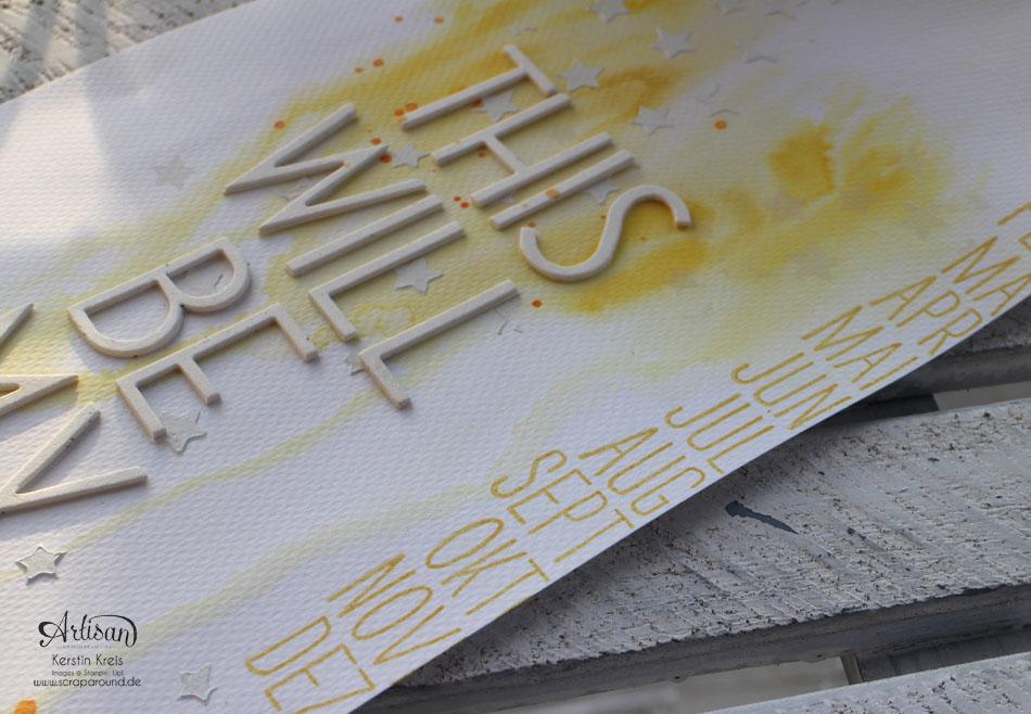 """""""ProjectLife Titelseite 2015"""" - Stampin´ Up! Artisan DesignTeam BlogHop 22.01.2015 - Aquarelltechnik mit Spezialpappe und BigZ Perfekte Buchstaben Detailbild02"""