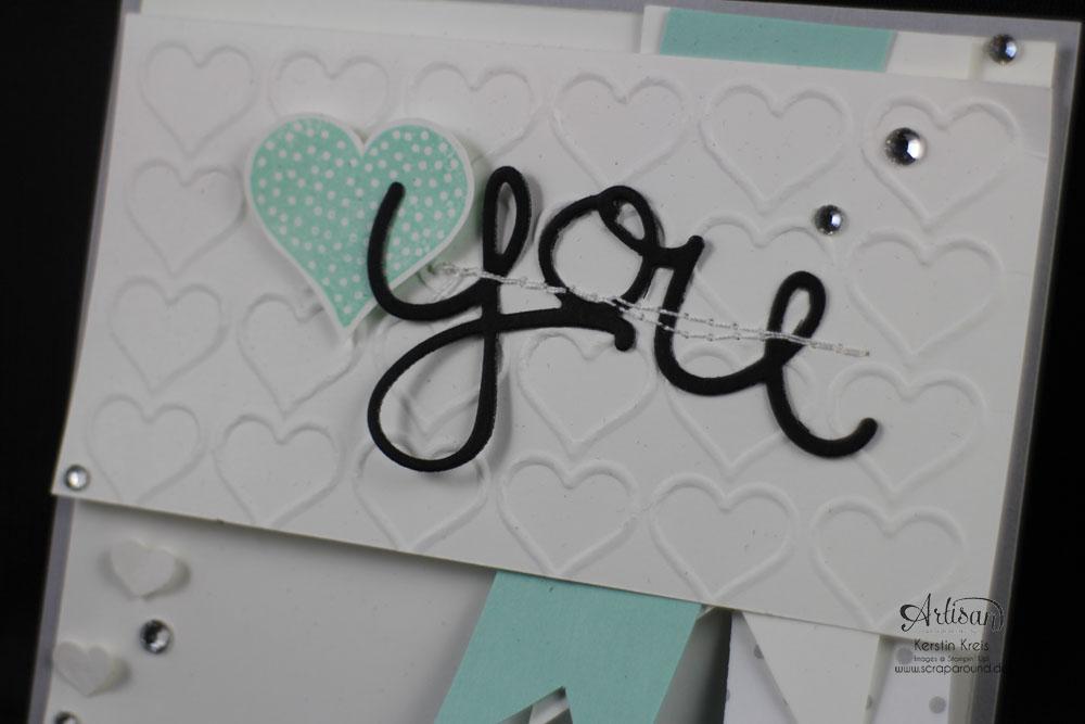 """Stamping & Blogging DT Sketch84 Karte """"You"""" mit Prägefolder Herzen und Thinlits Grüße  Detailbild3"""