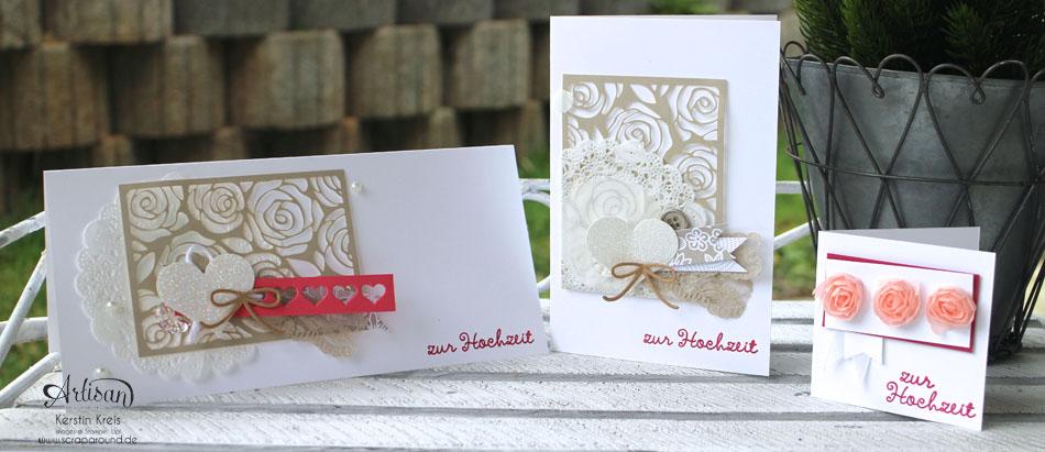 """Stamping & Blogging DT Sketch87 Hochzeitskarten mit Kreativ-Set """"Accessoires"""" und Stempelset """"wir feiern"""""""