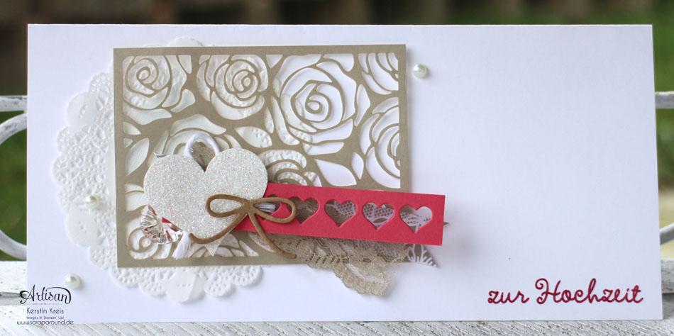 """Stamping & Blogging DT Sketch87 Hochzeitskarten mit Kreativ-Set """"Accessoires"""" und Stempelset """"wir feiern"""" Detailbild03"""