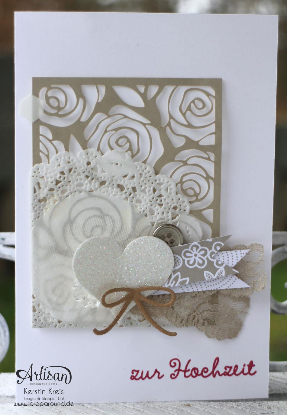 """Stamping & Blogging DT Sketch87 Hochzeitskarten mit Kreativ-Set """"Accessoires"""" und Stempelset """"wir feiern"""" Detailbild05"""