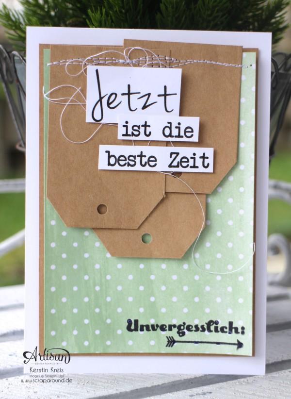 """Stamping & Blogging DT Sketch88 Freundschaftskarte mit SAB Designerpapier Zauberhaft, Craft Cardstock und Stempelset """"Unvergesslich"""" Detailbild03"""