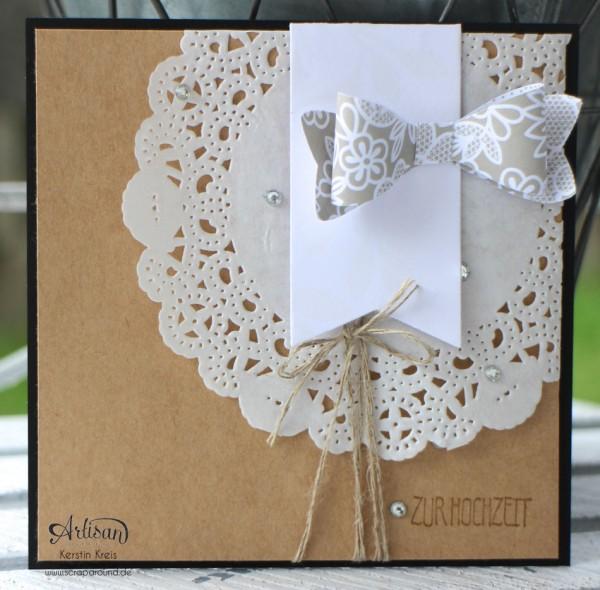 """Stamping & Blogging DT Sketch89 Hochzeitskarte mit Stanze Schleife und Stempelset """"eins für alles"""""""
