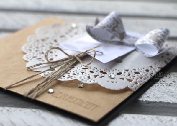 """Stamping & Blogging DT Sketch89 Hochzeitskarte mit Stanze Schleife und Stempelset """"eins für alles"""" Detailbild"""