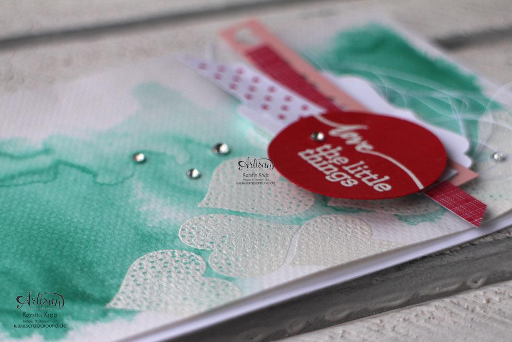 """""""Aquarell-Karten"""" - Stampin´ Up! Artisan DesignTeam BlogHop 05.02.2015 - Karte mit embossten Herzen und Aquarell-Hintergrund und Stempelset """"hello life"""" Detailbild02"""