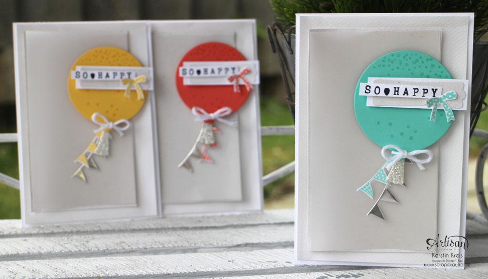 """Stamping & Blogging DT Sketch90 Karte """"so happy"""" mit Stempelset """"wir feiern"""" und Framelits """"Ballon"""""""