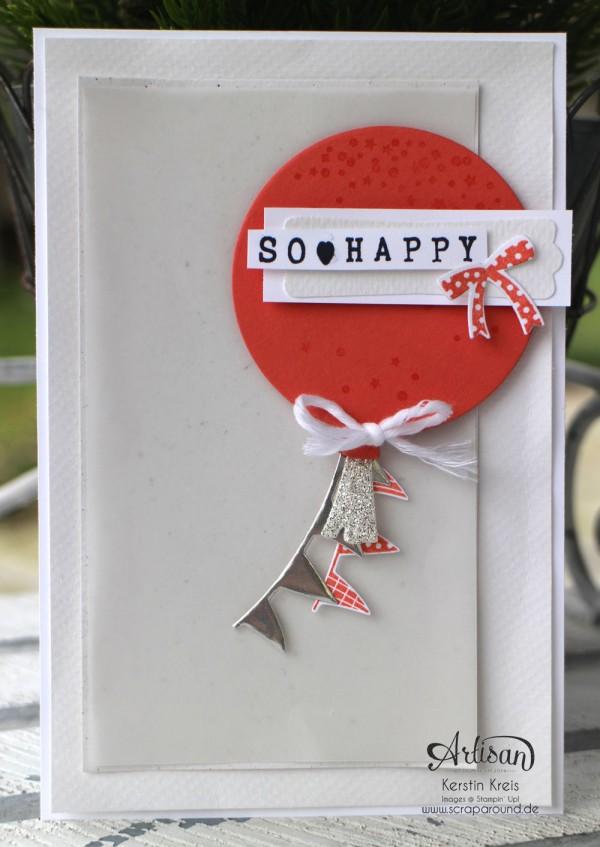 """Stamping & Blogging DT Sketch90 Karte """"so happy"""" mit Stempelset """"wir feiern"""" und Framelits """"Ballon"""" Detailbild03"""