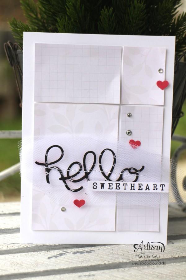 """Stamping & Blogging DT Sketch91 Karte """"hello sweetheart"""" mit SAB Designerpapier """"Zauberhaft"""" und Thinlits """"Grüße"""" Detailbild1"""