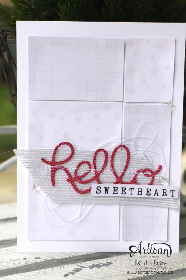 """Stamping & Blogging DT Sketch91 Karte """"hello sweetheart"""" mit SAB Designerpapier """"Zauberhaft"""" und Thinlits """"Grüße"""" Detailbild2"""