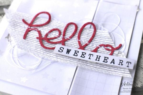 """Stamping & Blogging DT Sketch91 Karte """"hello sweetheart"""" mit SAB Designerpapier """"Zauberhaft"""" und Thinlits """"Grüße"""" Detailbild3"""