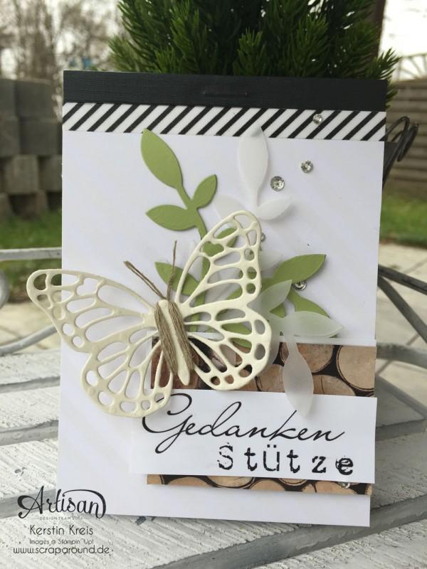 """Stamping & Blogging DT Sketch92 Notizblock mit SAB Designerpapier """"Zauberhaft"""" und Thinlits """"Schmetterlinge"""""""