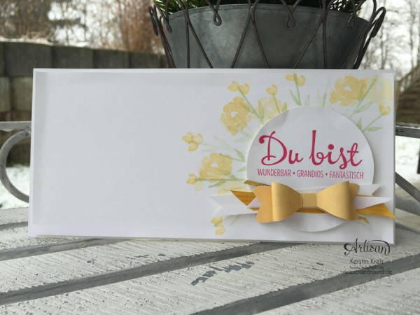 """Stamping & Blogging DT Sketch93 Karte """"Du bist ... """" mit Stanzer Schleife und Stempelset """"Painted Petals"""" und """"Fantastische vier"""""""
