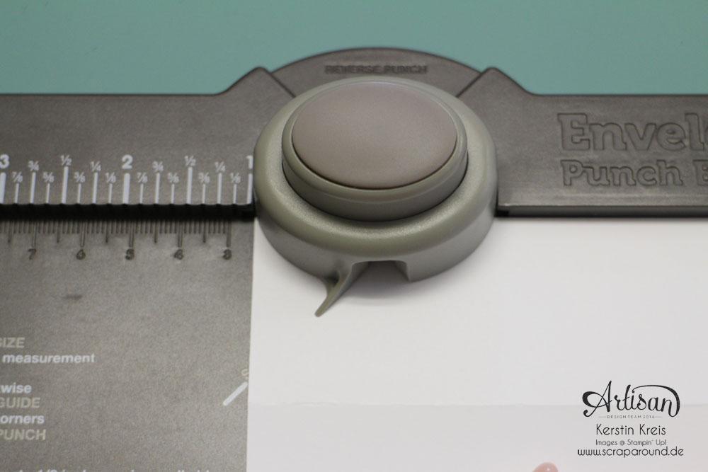 """""""Fächer-Verpackung für Hochzeitsgäste"""" - Stampin´ Up! Artisan DesignTeam BlogHop 05.03.2015 - Verpackung mit dem Umschlag-Board mit Stempelset """"hello life"""" und BigZ """"Spiralblume"""" Detailbild08"""