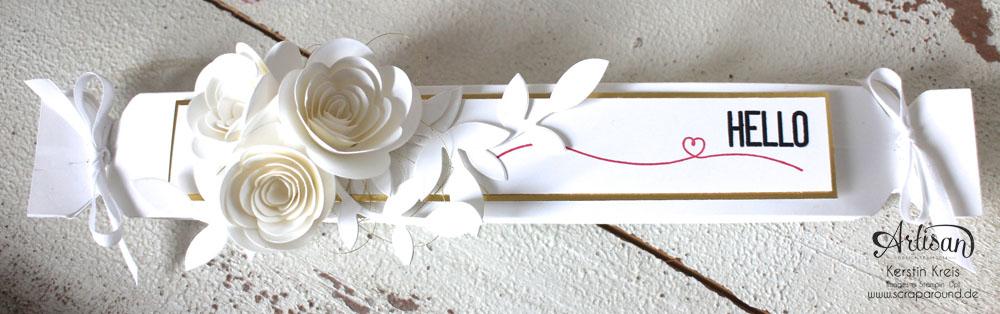 """""""Fächer-Verpackung für Hochzeitsgäste"""" - Stampin´ Up! Artisan DesignTeam BlogHop 05.03.2015 - Verpackung mit dem Umschlag-Board mit Stempelset """"hello life"""" und BigZ """"Spiralblume"""" Detailbild01"""
