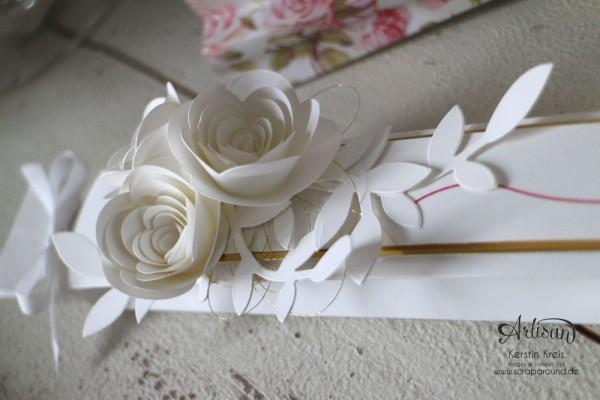 """""""Fächer-Verpackung für Hochzeitsgäste"""" - Stampin´ Up! Artisan DesignTeam BlogHop 05.03.2015 - Verpackung mit dem Umschlag-Board mit Stempelset """"hello life"""" und BigZ """"Spiralblume"""" Detailbild03"""