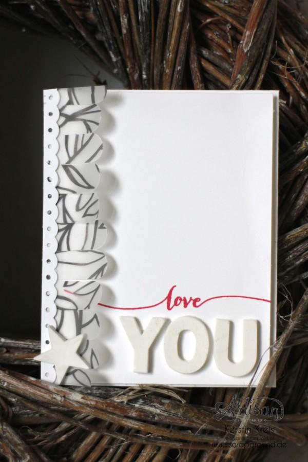 """Karte """"love you"""" - Stampin´ Up! Artisan DesignTeam BlogHop 12.03.2015 - Karte mit Stempelset """"hello life"""" und Modellierton und SAB Designerpergament """"pure Perfection"""""""
