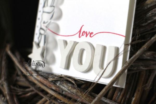 """Karte """"love you"""" - Stampin´ Up! Artisan DesignTeam BlogHop 12.03.2015 - Karte mit Stempelset """"hello life"""" und Modellierton und SAB Designerpergament """"pure Perfection"""" Detailbild1"""