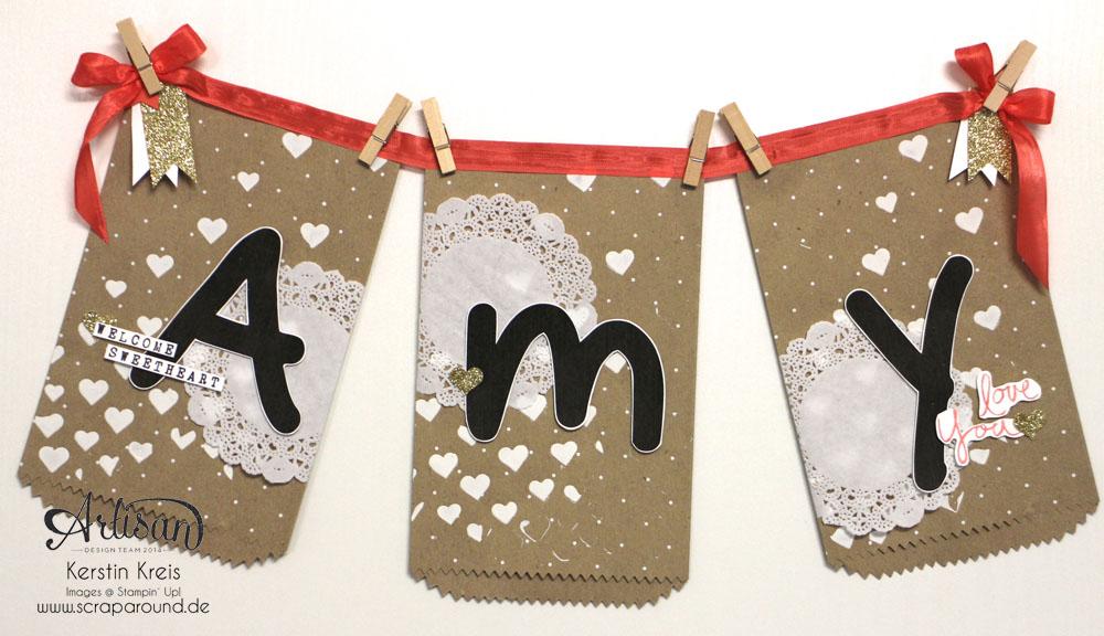 """""""Baby Namensschild"""" - Stampin´ Up! Artisan DesignTeam BlogHop 16.04.2015 - Türschild mit """"Geschenktüten schnelle Überraschung Polka Dot"""" und Stempelset """"Mum´s love"""""""