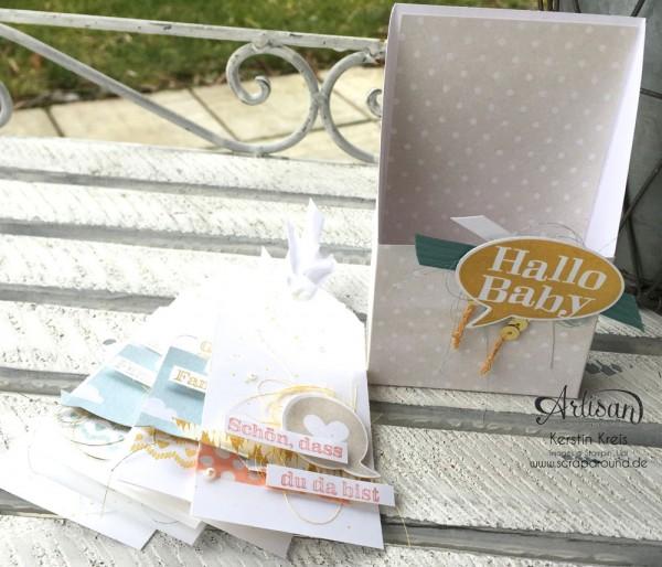 """""""hallo Baby"""" - Stampin´ Up! Artisan DesignTeam BlogHop 19.03.2015 - Baby-Kärtchen mit Stempelset """"kleiner Sonnenschein"""" und Designerpapiere """"Zauberhaft"""" und """"süße Träume"""" Detailbild01"""