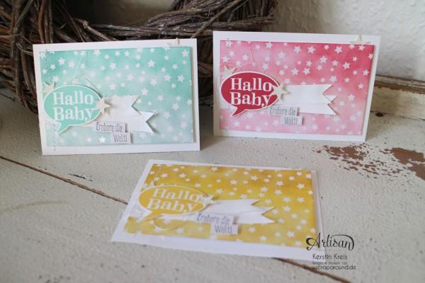 """Stamping & Blogging DT Sketch93 Baby-Karten mit Stempelsets """"Spruch-reif"""" und """"kleiner Sonnenschein"""" und SAB DP Zauberhaft"""