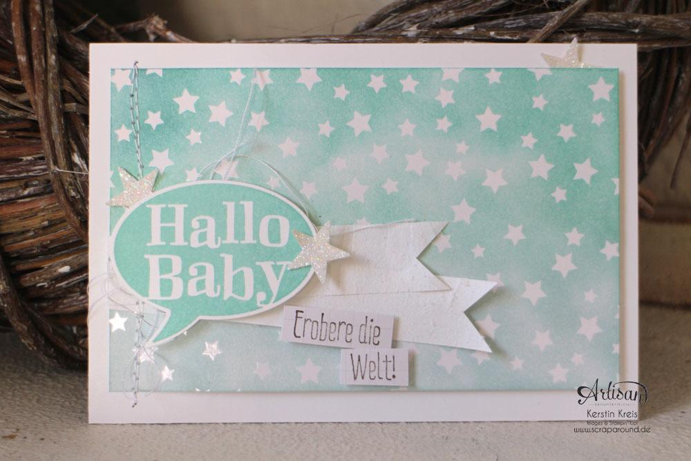 """Stamping & Blogging DT Sketch93 Baby-Karten mit Stempelsets """"Spruch-reif"""" und """"kleiner Sonnenschein"""" und SAB DP Zauberhaft Detailbild1"""