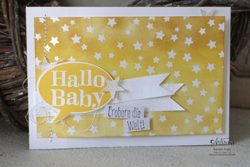 """Stamping & Blogging DT Sketch93 Baby-Karten mit Stempelsets """"Spruch-reif"""" und """"kleiner Sonnenschein"""" und SAB DP Zauberhaft Detailbild3"""