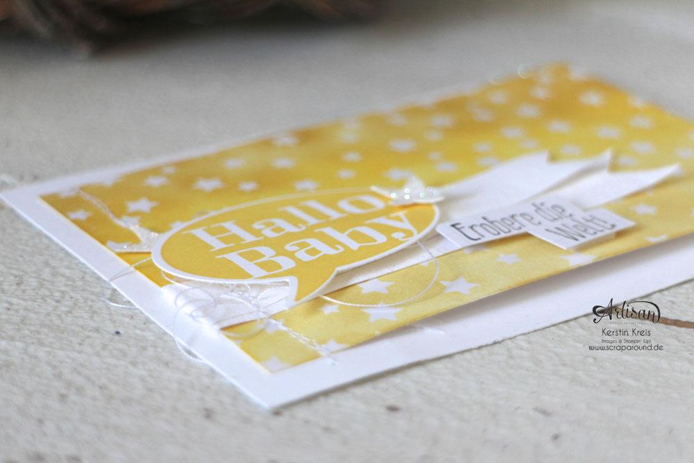 """Stamping & Blogging DT Sketch93 Baby-Karten mit Stempelsets """"Spruch-reif"""" und """"kleiner Sonnenschein"""" und SAB DP Zauberhaft Detailbild4"""