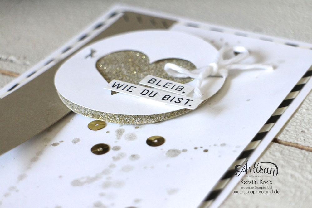 """Stamping & Blogging DT Sketch96 Goldfieber Karte mit Sale-a-bration Stempelset """"Wie du bist"""" und Designerpapier """"Erstausgabe"""" Detailbild1"""