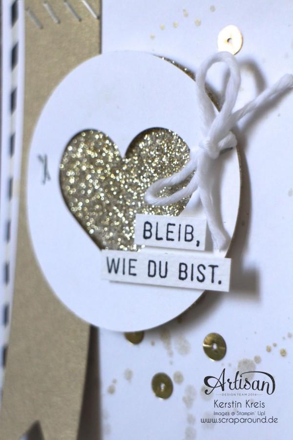 """Stamping & Blogging DT Sketch96 Goldfieber Karte mit Sale-a-bration Stempelset """"Wie du bist"""" und Designerpapier """"Erstausgabe"""" Detailbild3"""