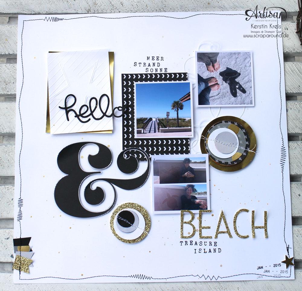 """WS Jenni 28022015 Projekt Layout mit Designerpapier """"jede Menge Liebe"""", Goldpapieren und ABC Rollenstempel"""
