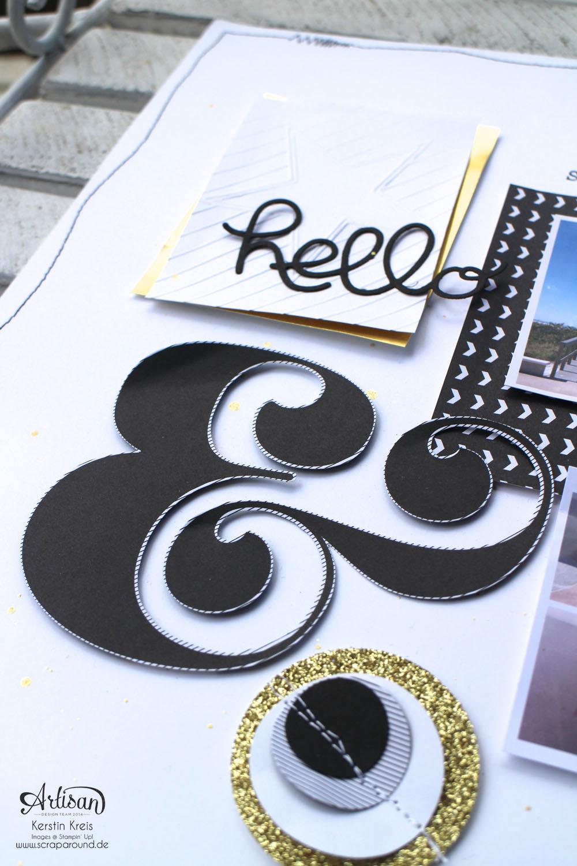 """WS Jenni 28022015 Projekt Layout mit Designerpapier """"jede Menge Liebe"""", Goldpapieren und ABC Rollenstempel  Detailbild1"""