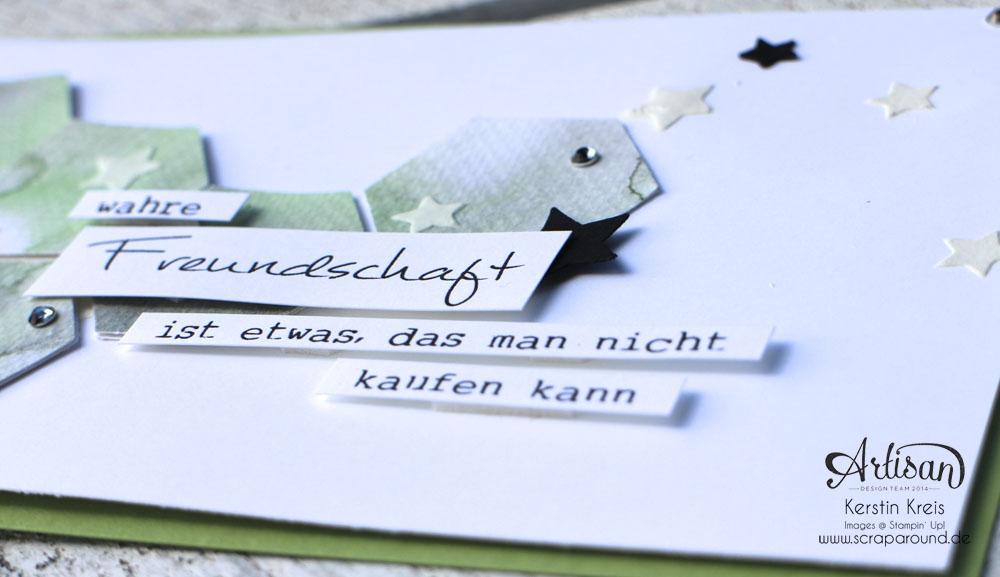 Stamping & Blogging DT Sketch100 FreundschaftsKarte mit Sechseck-Stanzer und Aquarelltechnik Detailbild1