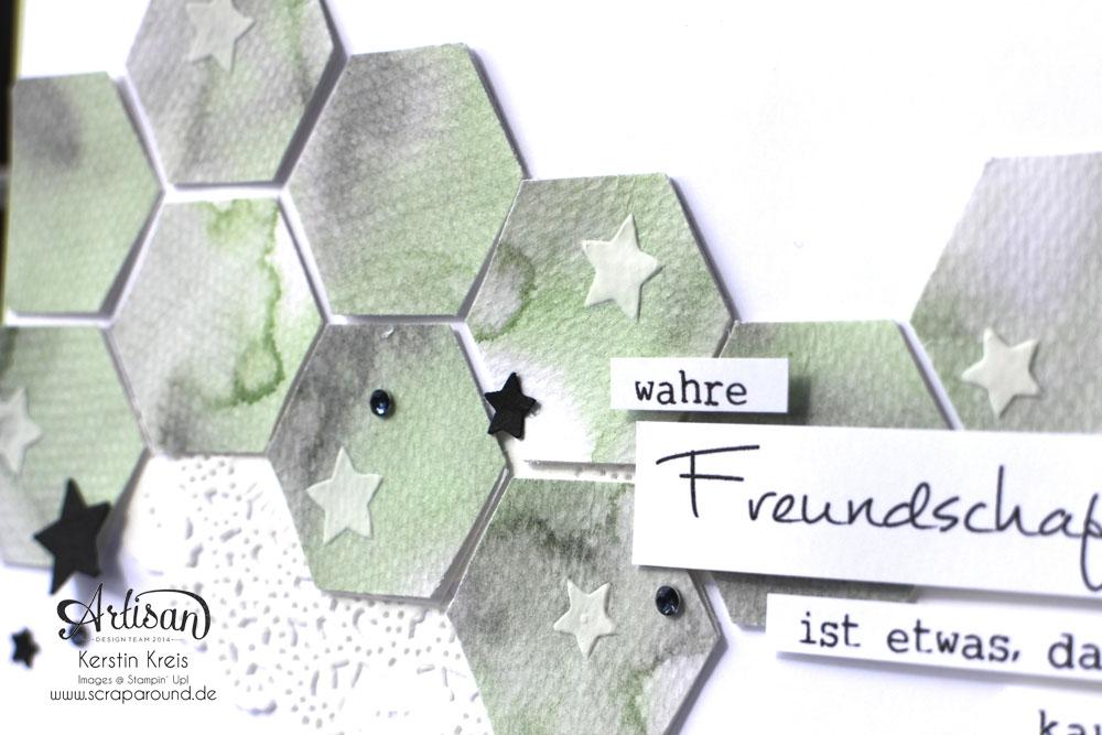 Stamping & Blogging DT Sketch100 FreundschaftsKarte mit Sechseck-Stanzer und Aquarelltechnik Detailbild2