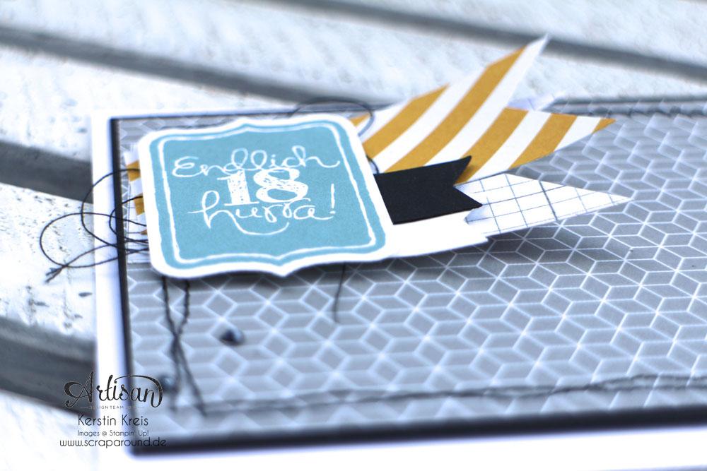 """Stamping & Blogging DT Sketch102 Karte Endlich18 mit Stempelsets """"Spruch-reif"""" und """"Tafelrunde"""" Detailbild1"""