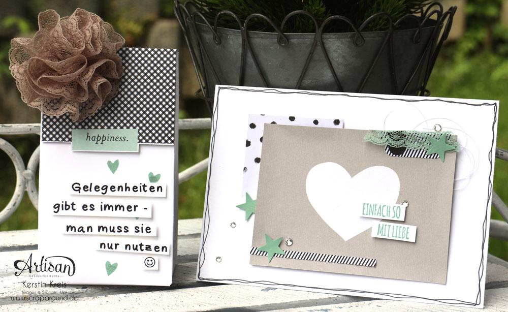 """Karten und Verpackung mit dem Stanz- und Falzbrett für Geschenktüten - Stampin´ Up! Artisan DesignTeam BlogHop 21.05.2015 - InColors 2015-2017 mit PLxSU Kit """"Momente wie diese"""" und Stempelset """"mit Liebe geschenkt"""""""