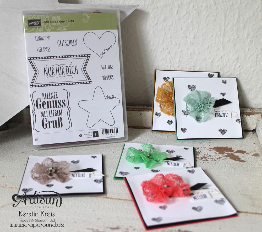 """Karten InColor 2015-2017 - Stampin´ Up! Artisan DesignTeam BlogHop 28.05.2015 - Karten InColors 2015-2017 und Pünktchen-Spitzenband und Stempelset """"mit Liebe geschenkt"""""""