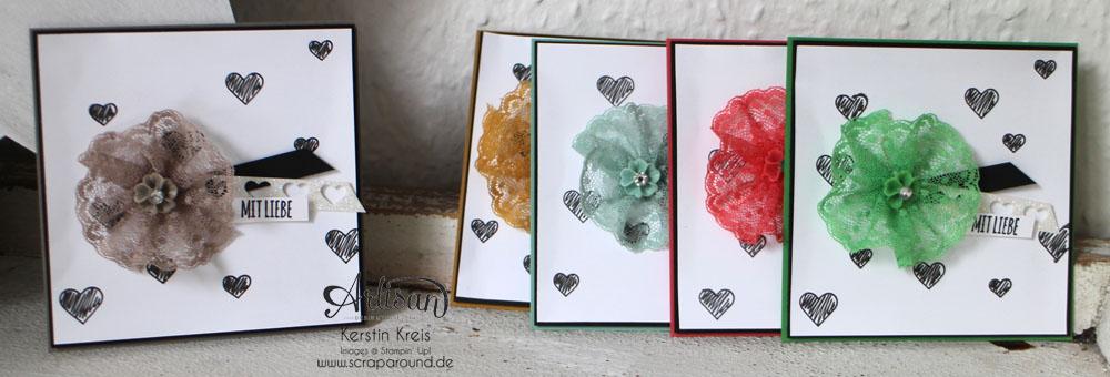 """Karten InColor 2015-2017 - Stampin´ Up! Artisan DesignTeam BlogHop 28.05.2015 - Karten InColors 2015-2017 und Pünktchen-Spitzenband und Stempelset """"mit Liebe geschenkt"""" Detailbild01"""
