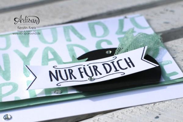 """Stamping & Blogging DT Sketch105 Karte InColor MinzMakaron mit Stempelset """"Layered Letters Alphabet"""" und """"Mit Liebe geschenkt"""" Detailbild2"""