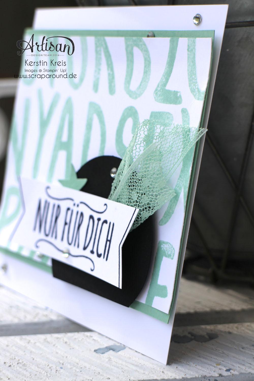 """Stamping & Blogging DT Sketch105 Karte InColor MinzMakaron mit Stempelset """"Layered Letters Alphabet"""" und """"Mit Liebe geschenkt"""" Detailbild1"""