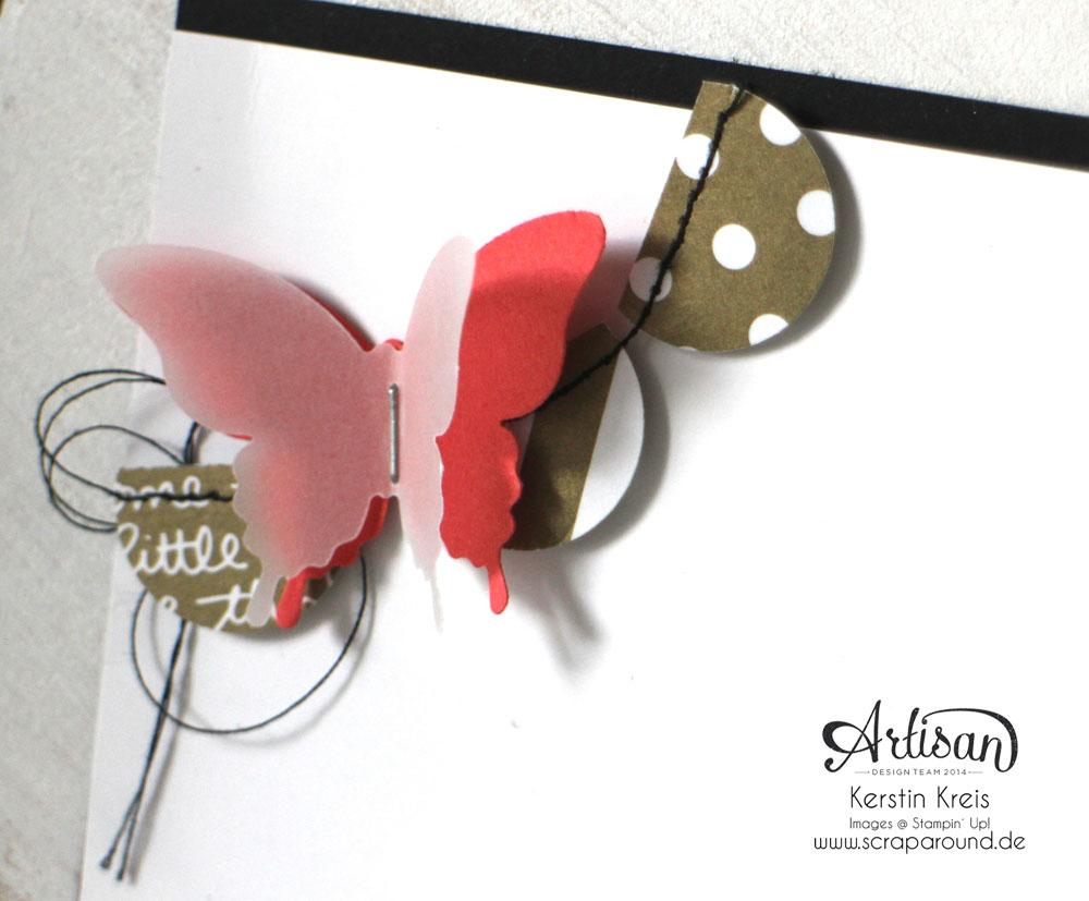 """Stamping & Blogging DT Sketch106 Karte """"Sei du selbst"""" mit Designerpapier Neutralfarben und Schmetterlingen Detailbild1"""