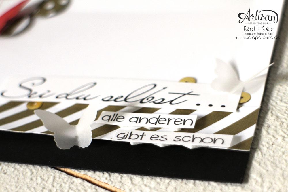 """Stamping & Blogging DT Sketch106 Karte """"Sei du selbst"""" mit Designerpapier Neutralfarben und Schmetterlingen Detailbild2"""