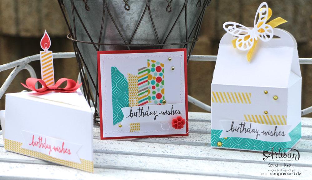 Stampin´ Up! Artisan DesignTeam BlogHop 11.06.2015 - Geburtstags Verpackungen Thinlits Tortenstück und Leckereien-Box mit Washi-Tape