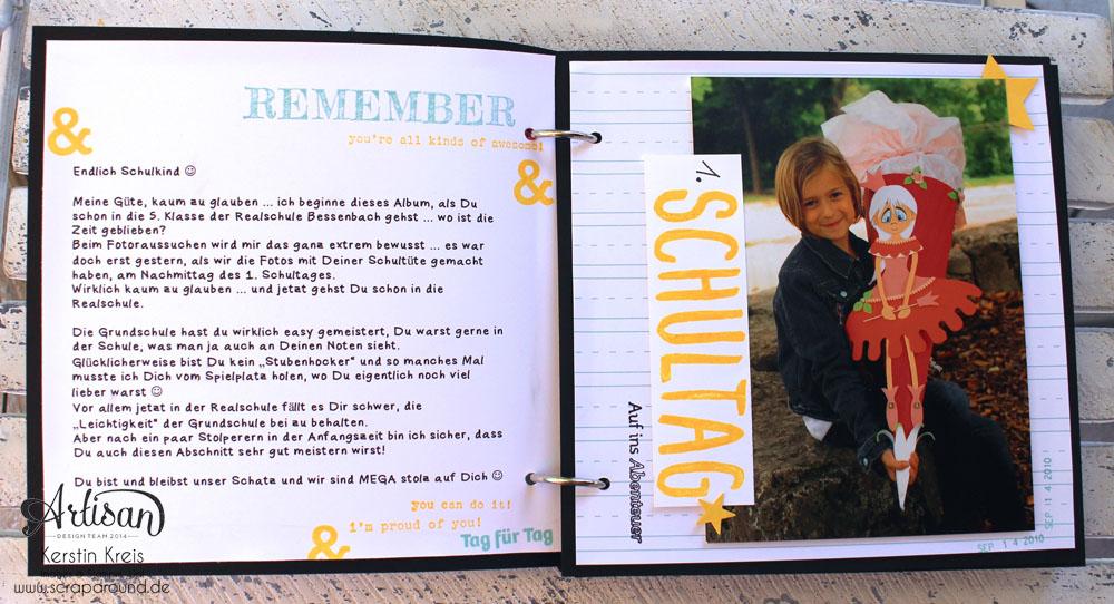 """Stampin´ Up! Artisan DesignTeam BlogHop 16.07.2015 - MiniAlbum """"Hallo Schule"""" Schulzeit-Fotos mit Designerpapier """"Schulzeit"""" und Stempelsets """"Words of Truth"""" und """"Unvergesslich"""" Detailbild02"""