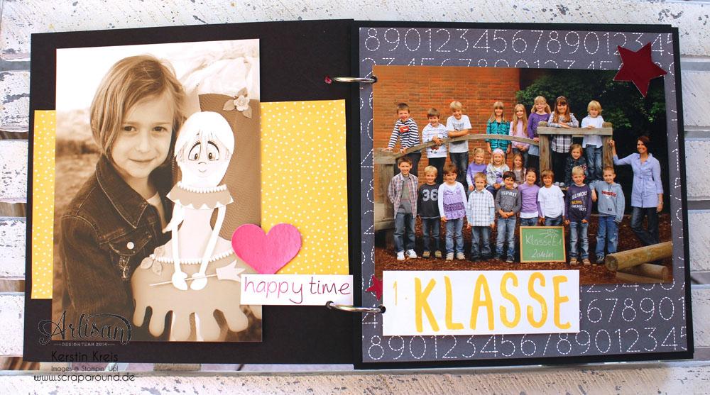 """Stampin´ Up! Artisan DesignTeam BlogHop 16.07.2015 - MiniAlbum """"Hallo Schule"""" Schulzeit-Fotos mit Designerpapier """"Schulzeit"""" und Stempelsets """"Words of Truth"""" und """"Unvergesslich"""" Detailbild03"""