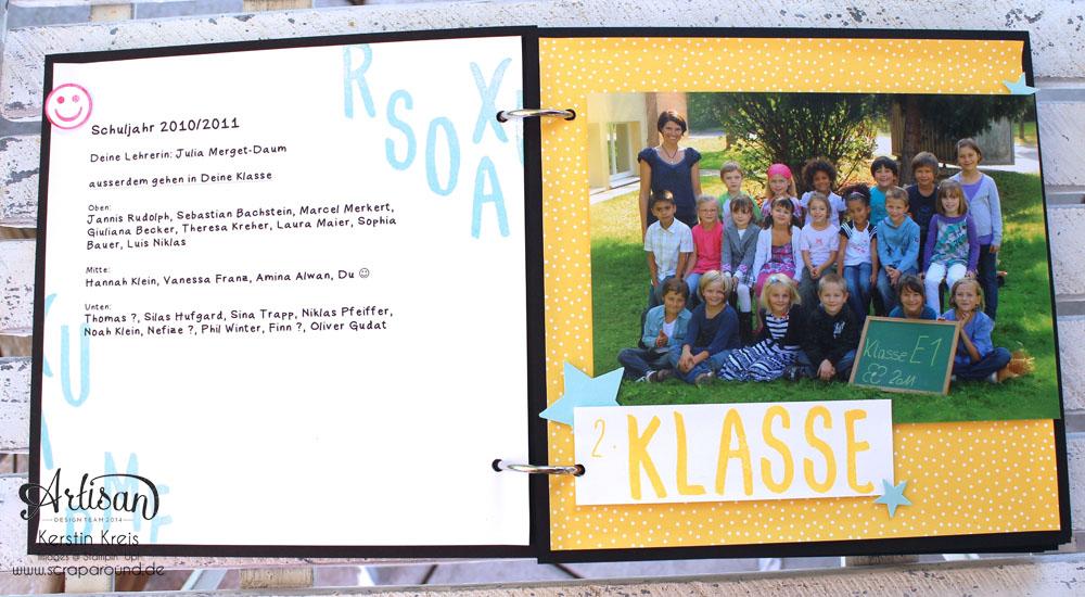 """Stampin´ Up! Artisan DesignTeam BlogHop 16.07.2015 - MiniAlbum """"Hallo Schule"""" Schulzeit-Fotos mit Designerpapier """"Schulzeit"""" und Stempelsets """"Words of Truth"""" und """"Unvergesslich"""" Detailbild04"""